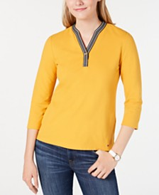 Tommy Hilfiger Striped-Trim V-Neck Top, Created for Macy's