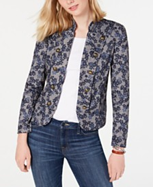 Tommy Hilfiger Floral-Print Button-Trim Jacket, Created for Macy's
