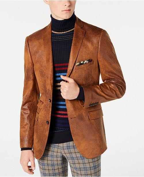 Paisley & Gray Men's Slim-Fit Vegan Leather Blazer