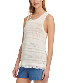 DKNY Fringe-Trim Sweater Tank Top