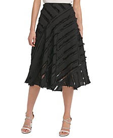 Fringe-Trim Midi Skirt