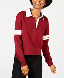 Crave Fame Juniors' Striped-Sleeve Rugby Polo Shirt