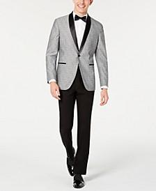 Men's Slim-Fit Light Gray Floral Shawl Collar Tuxedo