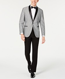 Kenneth Cole Reaction Men's Slim-Fit Light Gray Floral Shawl Collar Tuxedo