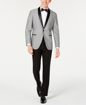 Men's Vintage Style Suits, Classic Suits Kenneth Cole Reaction Mens Slim-Fit Light Gray Floral Shawl Collar Tuxedo $119.99 AT vintagedancer.com