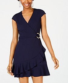 Juniors' Ruffle Faux-Wrap Dress