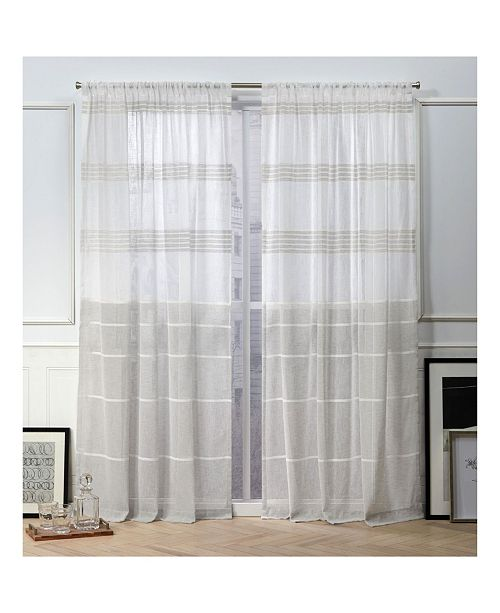 "Exclusive Home Nicole Miller Wexford Embellished Stripe Rod Pocket Top 54"" X 96"" Curtain Panel Pair"