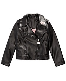 Little Girls Embroidered Faux-Leather Jacket
