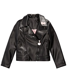 Hello Kitty Little Girls Embroidered Faux-Leather Jacket