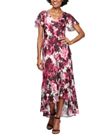 Alex Evenings Printed High-Low Dress