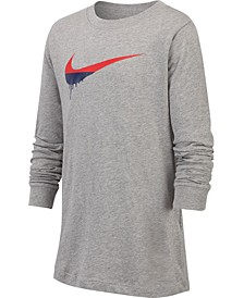 Big Boys Novelty Swoosh Graphic Long Sleeve T-Shirt
