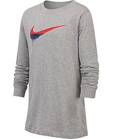 Big Boys Novelty Swoosh Graphic Long Sleeve T-Shirt