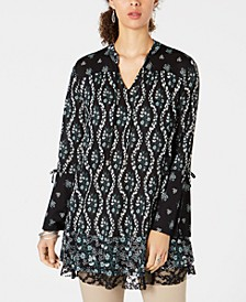 Lace-Trimmed Bell-Sleeve Tunic Top, Created for Macy's