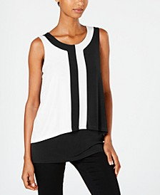 Petite Colorblocked Sleeveless Top, Created for Macy's
