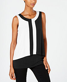 Alfani Petite Colorblocked Sleeveless Top, Created for Macy's