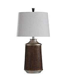 Winthrop Bronze and Khashi Silver 33in Transitional Cast Table Lamp