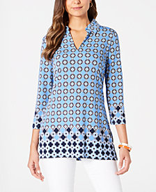 Charter Club Printed Collared Tunic, Created for Macy's