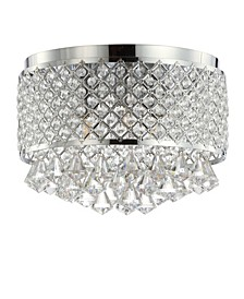 "Evelyn 14.7"" 3-Light Crystal Drops/Metal LED Flush Mount"