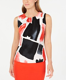 Calvin Klein Sleeveless Abstract-Print Top