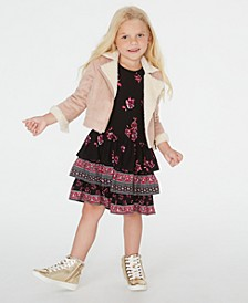 Little Girls Faux-Fur Jacket & Ruffled Dress Set