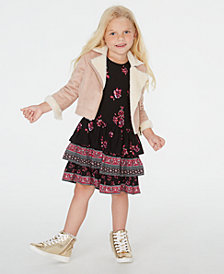 Blueberi Boulevard Toddler Girls Faux-Fur Jacket & Ruffled Dress Set