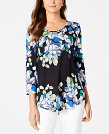 JM Collection Petite Printed Scoop-Neck Top, Created for Macy's