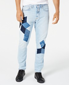 Calvin Klein Jeans Men's Athletic-Tapered Fit Stretch Quilted Appliqué Jeans
