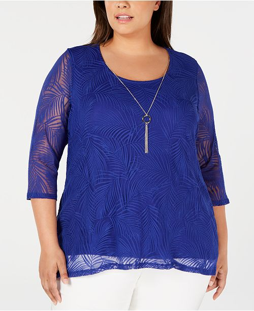 JM Collection Plus Size Textured Necklace Top, Created for Macy's