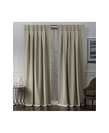 """Exclusive Home Sateen Woven Blackout Button Top Window 32"""" X 84"""" Curtain Panel Pair"""