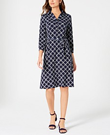 Petite Plaid Polo Shirtdress, Created for Macy's