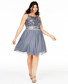 Trendy Plus Size Embellished Chiffon Fit & Flare Dress, Created for Macy's