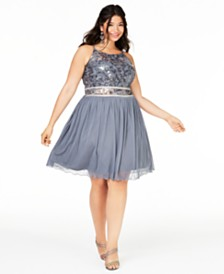 BCX Trendy Plus Size Embellished Chiffon Fit & Flare Dress, Created for Macy's