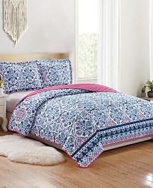 Fiona 3-Piece Reversible Quilt Set - Queen