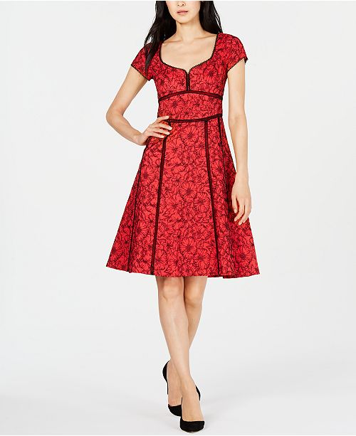 Nanette Lepore Cotton Embroidered A-Line Dress, Created for Macy's