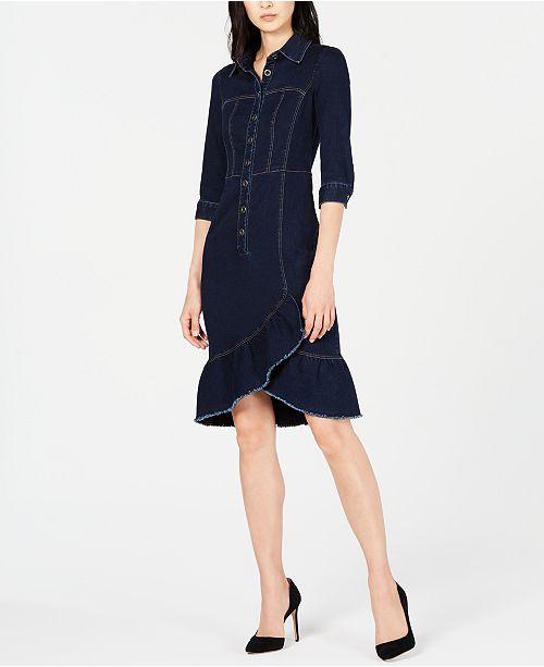 Nanette Lepore Ruffled Denim Dress, Created for Macy's
