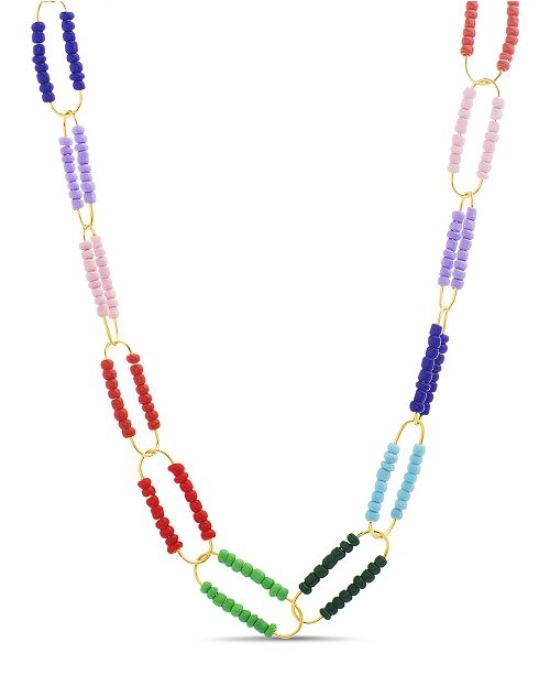 Steve Madden Women's Multi Colored Beaded Oval Necklace