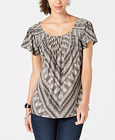 Printed Pleated-Neck Flutter-Sleeve Top, Created for Macy's