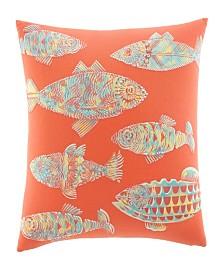 Tommy Bahama Batic Fish Sunset Orange Throw Pillow