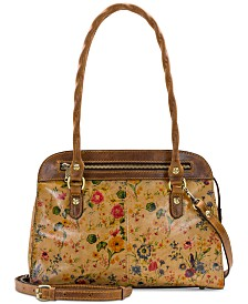 Patricia Nash Calvi Pairie Rose Print Leather Satchel