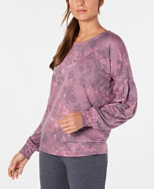 Ideology Floral-Print Balloon-Sleeve Sweatshirt, Created for Macy's
