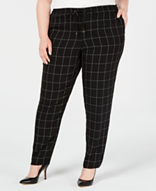 Calvin Klein Plus Size Windowpane-Print Drawstring Pants