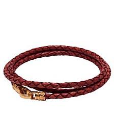 Men's Red Wrap-Around Leather Bracelet