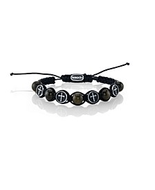 Tiger Eye Stone and Stainless Steel Cross Bead Cord Bracelet