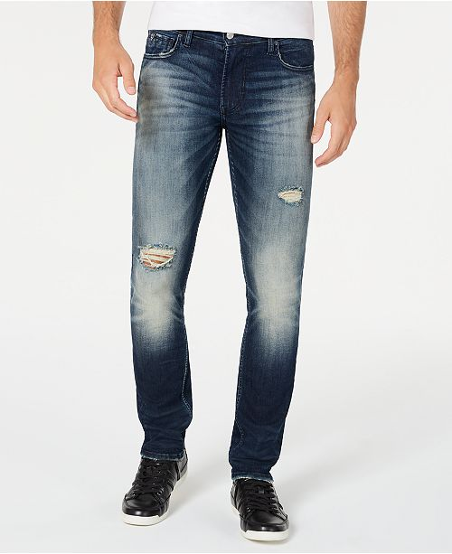 GUESS Men's Skinny Ripped Jeans