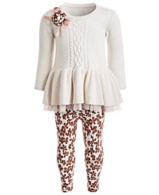 Baby Girls 2-Pc. Sweater Dress & Floral-Print Leggings Set