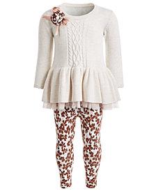 Bonnie Baby Baby Girls 2-Pc. Sweater Dress & Floral-Print Leggings Set
