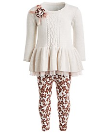 Bonnie Baby Baby Girls 2-Pc. Sweater Dress & Floral-Print Leggings Set