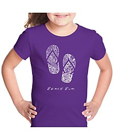 Girl's Word Art T-Shirt - Beach Bum