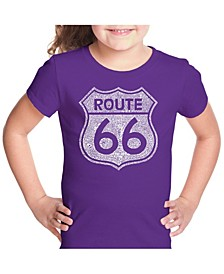 Girl's Word Art T-Shirt - Cities Along The Legendary Route 66