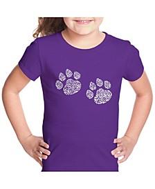 Girl's Word Art T-Shirt - Meow Cat Prints